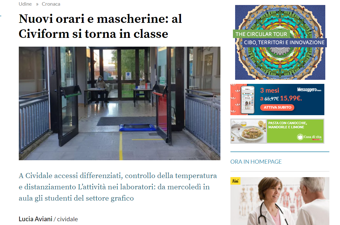 MESSAGGERO VENETO CIVIFORM TORNA IN CLASSE
