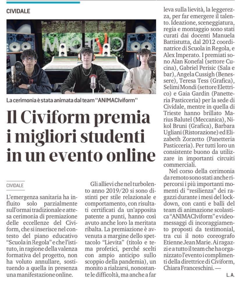 Messaggero Veneto Premiazione Scuola in regola